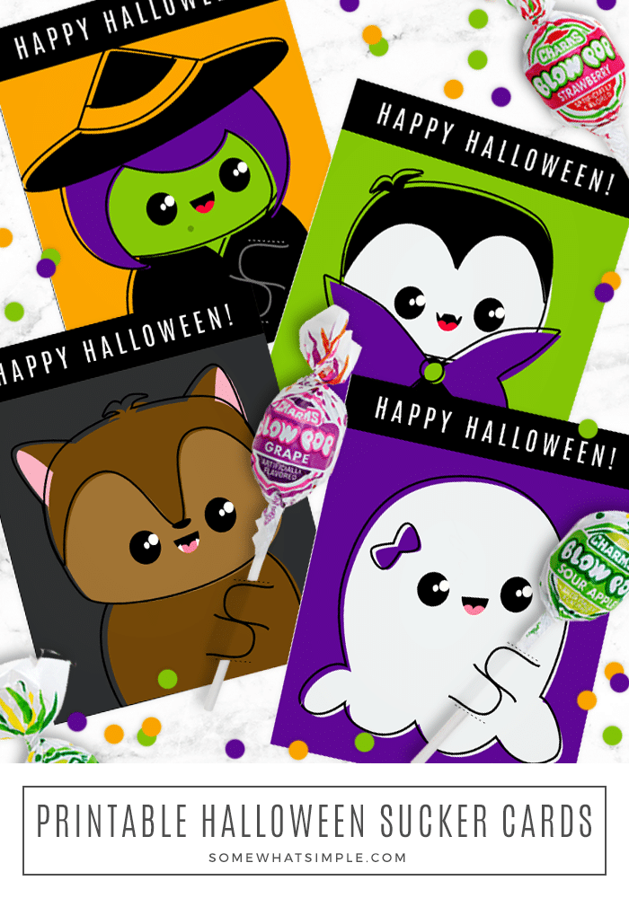 Halloween Lollipop Cards are festive, cute and so easy to put together! They are perfect Halloween treats for school parties and trick or treating! #halloween #lollipop #treat #printable #sucker via @somewhatsimple
