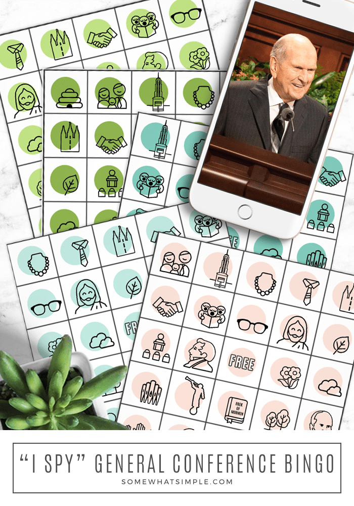 I Spy Bingo is the perfect General Conference activity for kids of all ages! Download and print our free General Conference Printables and you're good to go! #lds #ldsconf #freeprintable #ldsgeneralconferenceactivityforkids #generalconferencebingoactivity #mormon via @somewhatsimple
