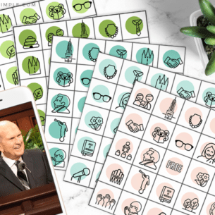 lds general conference bingo sheets from this free printable pack are layed out on a counter