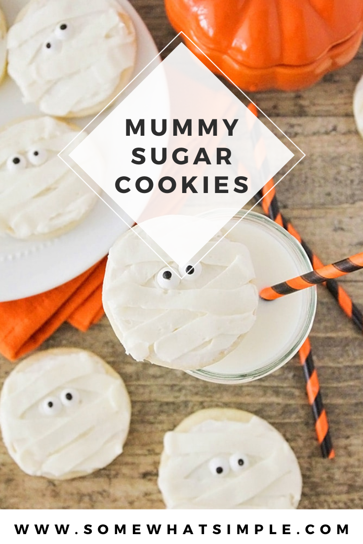 These delicious Halloween mummy sugar cookies are adorable and perfect dessert for Halloween! in just a few easy steps, transform a simple sugar cookie into a festive treat! They're perfect for a Halloween party or just an afternoon snack. via @somewhatsimple