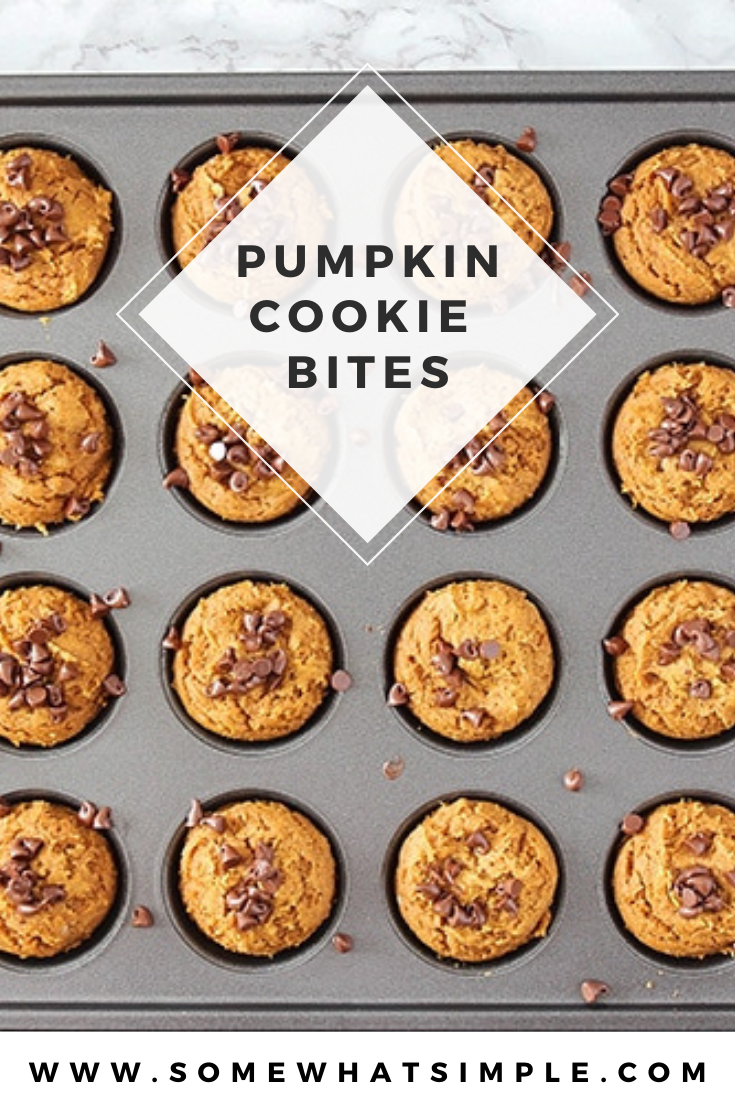 These Pumpkin Cookie Bites are made with only 3 ingredients and are readyin just 10 minutes! They are super easy to make and turn out soft and delicious every time! They're a simple fall dessert that can be enjoyed anytime! via @somewhatsimple