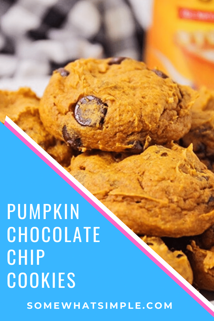 Welcome in the cool fall weather with thesecake mix pumpkin chocolate chip cookies! With only 3 ingredients, they are easy to make and taste DELICIOUS! #pumpkinchocolatechipcookies #cakemixpumpkincookies #easy3ingredientpumpkincookies #cakemixpumpkinchocolatechipcookies #cakemixpumpkinchocolatechipcookiesrecipe via @somewhatsimple