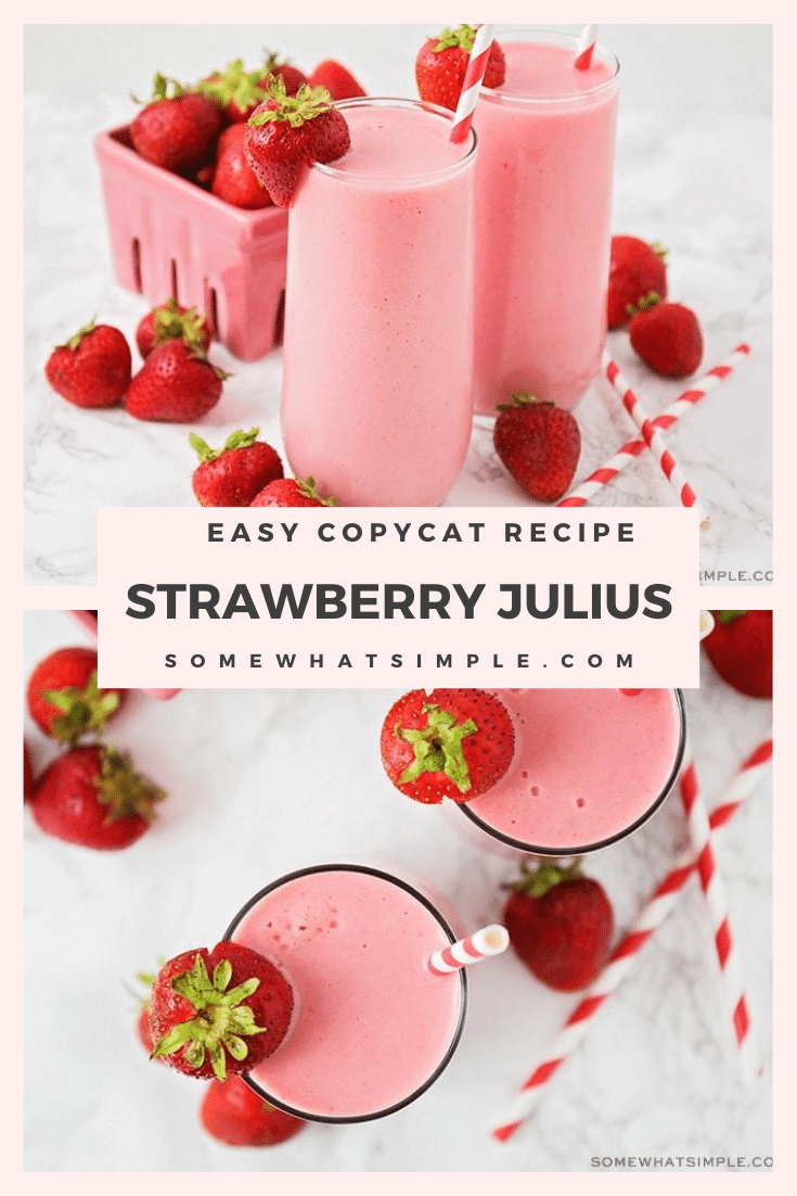 There is nothing is more refreshing than a great Strawberry Julius on a hot summer day! This easy copycat recipe is creamy, fresh and totally delicious! It's so good, you'll think you were hanging out at the mall in the 90s. #strawberrydrink #strawberrysmoothie #strawberryjuliuscopycatrecipe #strawberryjuliusrecipe #copycatstawberryjuliusrecipe via @somewhatsimple