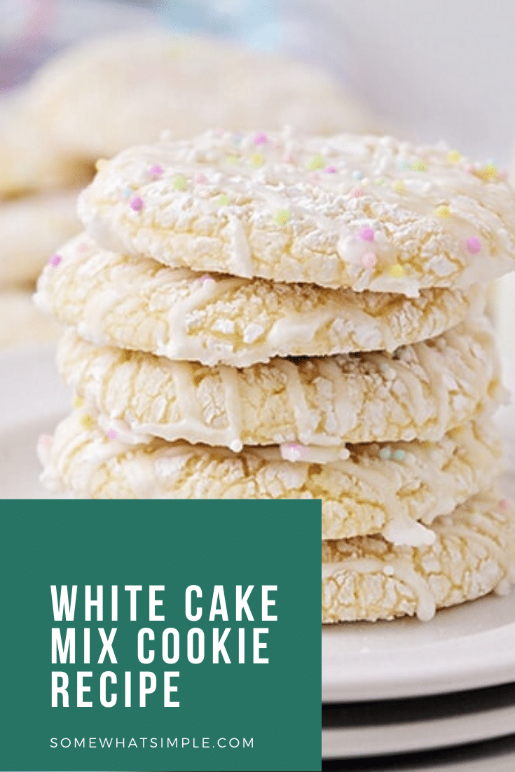 White cake mix cookies are as pretty as they are delicious! Made with just 4 ingredients, they come together easily and are perfect for any special occasion! #cakemixcookies #whitecakemixcookierecipe #3ingredientwhitecakemixcookies #whitecakemixcookies #bettycrockerwhitecakemixcookierecipe via @somewhatsimple