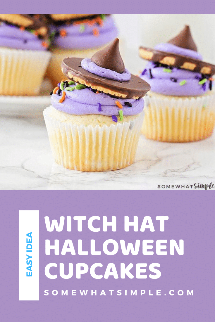 Witch hat cupcakes are easy to put together and they couldn't be any cuter! Plus they are nearly impossible to mess up, which is always a bonus with kitchen creations! Grab your kids and let's get cooking! #halloweencupcakes #witchhatcupcakes #howtomakewitchhatcupcakes #halloweencupcakesrecipe #witchhatcupcakerecipe via @somewhatsimple
