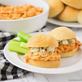 buffalo chicken sliders with ranch dressing and celery sticks