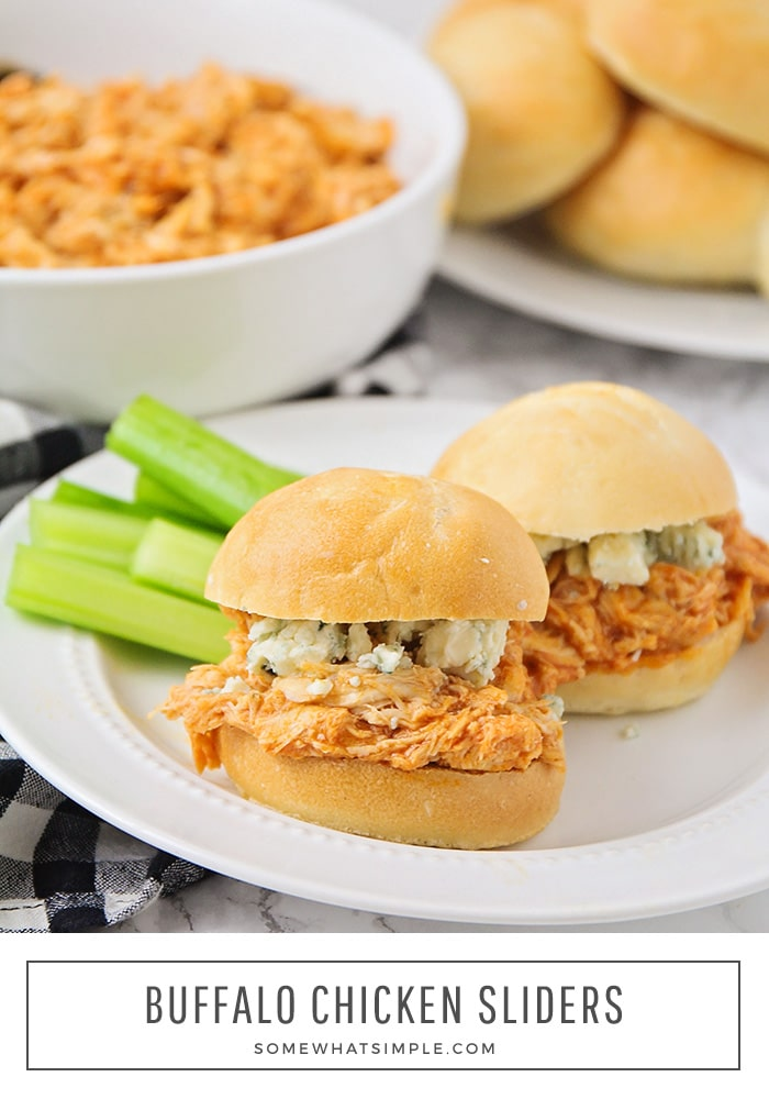 Crock Pot Buffalo Chicken Sliders are deliciously soft and full of flavor! They make a simple week night meal for your family, but are also perfect for entertaining a crowd! #crockpotbuffalochickensliders #slowcookerbuffalowchickenslidersrecipe #buffalochickensliders #easybuffalochickensliders  #howtomakebuffalochickenslidersinacrockpot via @somewhatsimple