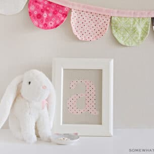 a letter A fabric monogram in a frame