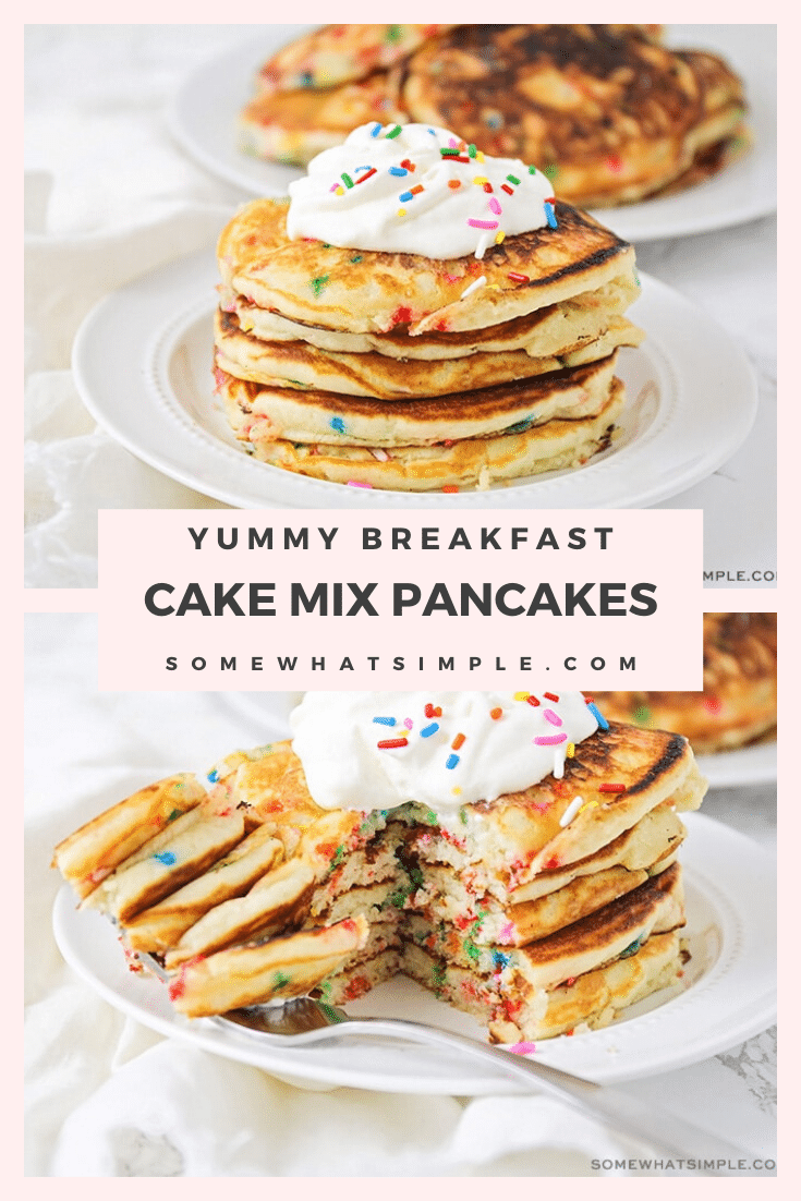 Cake mix pancakes are delicious, fun and so easy to make! They're perfect for a birthday or any other special occasion. Not only are they light and fluffy but they taste amazing! #cakemixpancakes #cakemixpancakerecipe #easycakemixpancakes #funfetticakemixpancakes #yellowcakemixpancakes via @somewhatsimple