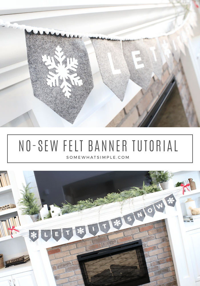 Make a simple felt banner for every holiday and celebration in 30 minutes or less! Our no sew banner tutorial is easy, and the results are darling! #banner #felt #easy #nosew via @somewhatsimple