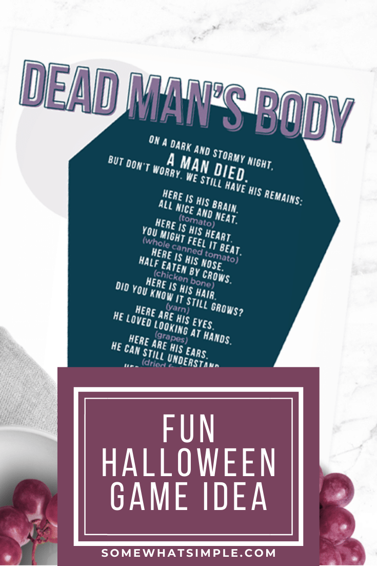 """Are you looking for a fun Halloween game for kids to play? Dead Man's Body is a spooky activity kids LOVE! Pass around covered bowls filled with different """"body parts"""" and let them guess what's inside. It's an easy game and the kids will have so much fun playing it. It's perfect for a school party or a Halloween party at home. via @somewhatsimple"""
