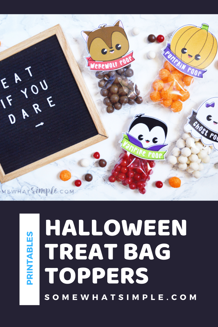 Here's a hilarious Halloween treat or snack idea that kids of allages will absolutely love: Halloween Poop! With 4 darling designs, everyone will love getting one of these treat bags. They're perfect for handing out at school, a Halloween party or to trick or treaters on Halloween night. via @somewhatsimple