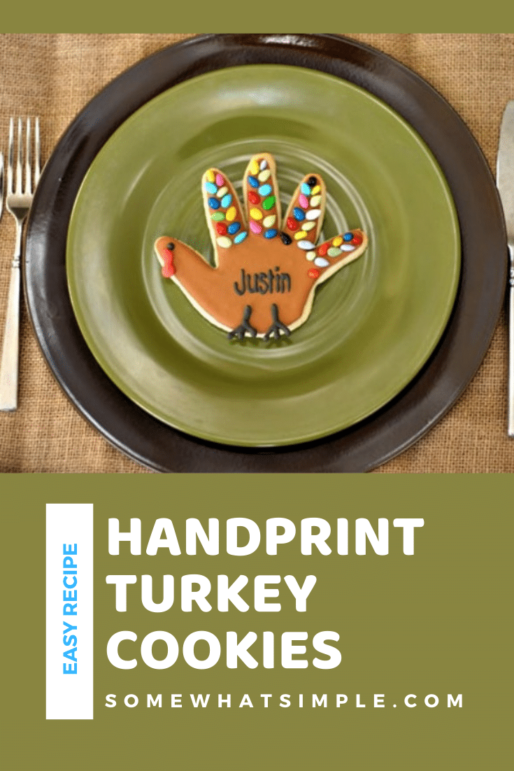 Turkey Handprint Cookies are a fun Thanksgiving treat that your kids will surely love! Made with a sugar cookie base and then shaped and decorated to look like a turkey. The best part is they're super easy to make. These really are the perfect cookie recipe to make during Thanksgiving. via @somewhatsimple
