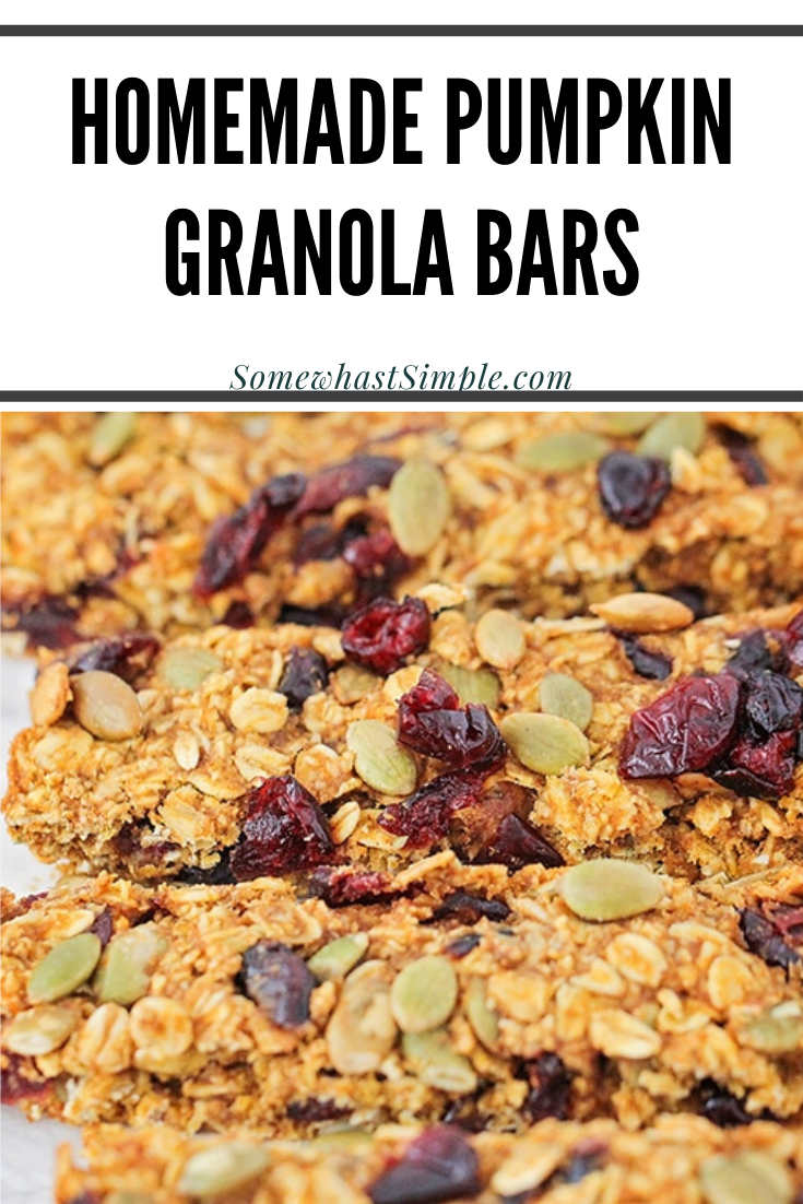 Pumpkin Granola Bars are a healthy fall snack that's made with dried cranberries and pumpkin seeds. They're super easy to make, full of delicious ingredients and they're perfect for breakfast or to have as a snack on the go. via @somewhatsimple