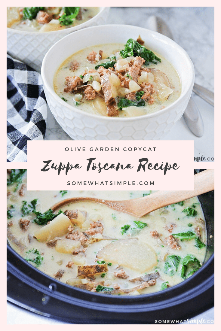 This easy Zuppa Toscana copycat recipe will let you enjoy the flavors of the Olive Garden from the comfort of your own home! Made with fresh vegetables and sausage, this soup is unbelievably delicious! Place everything in the crock pot and then relax until dinner is ready! #olivegardenzuppatoscanacopycatrecipe #zuppatoscanasoup #zuppatoscanasouprecipe #crockpotzuppatoscanasouprecipe #olivegardenzuppatoscanasouprecipe via @somewhatsimple