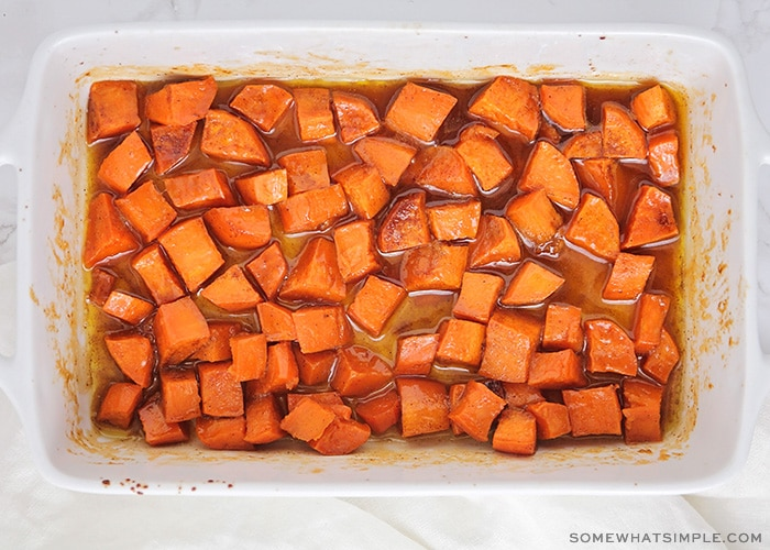 candied sweet potatoes taken right out of the oven