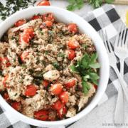 Quinoa Caprese Salad in a big bowl