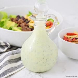 a jar of homemade cilantro lime dressing