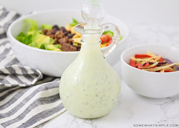 a jar of homemade cilantro lime dressing