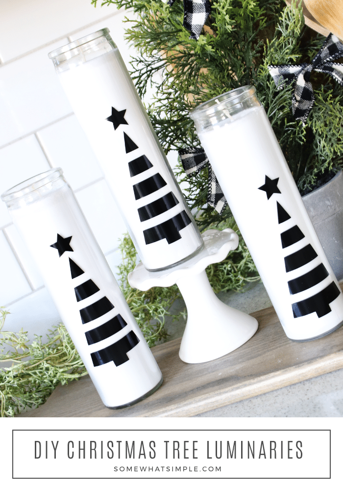 Add some sophistication to your holiday decor with a simple Christmas Tree Luminary. These classy candles can be made in 5 minutes or less and only cost $1 each! #luminary #christmas #decor #candle #cricut via @somewhatsimple