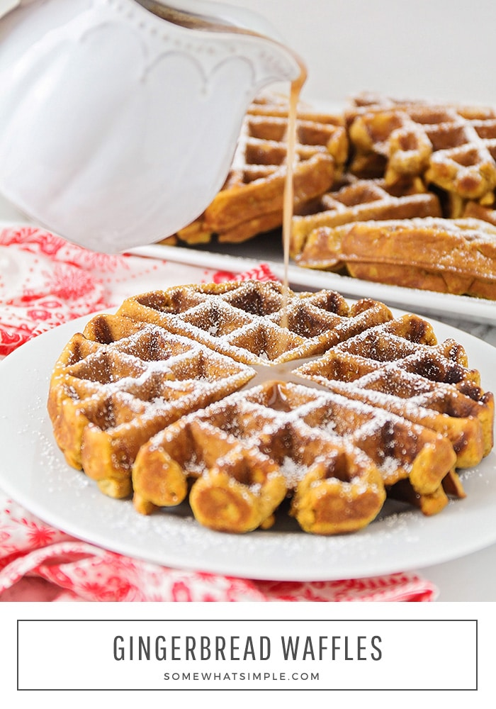 Gingerbread Waffles are the perfect holiday breakfast! They're deliciously sweet on their own, but taste like heaven when drizzled with our homemade cinnamon cream syrup! #gingerbreadwaffles #gingerbreadwafflerecipe #easygingerbreadwaffles #christmasbreakfast #gingerbread via @somewhatsimple