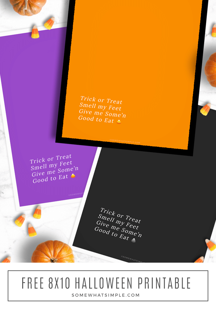 Download and print our minimalist Trick or Treat Printables in 3 different colors for a simple and festive way to decorate for Halloween! #trickortreaat #halloween #printables #decor #fall via @somewhatsimple
