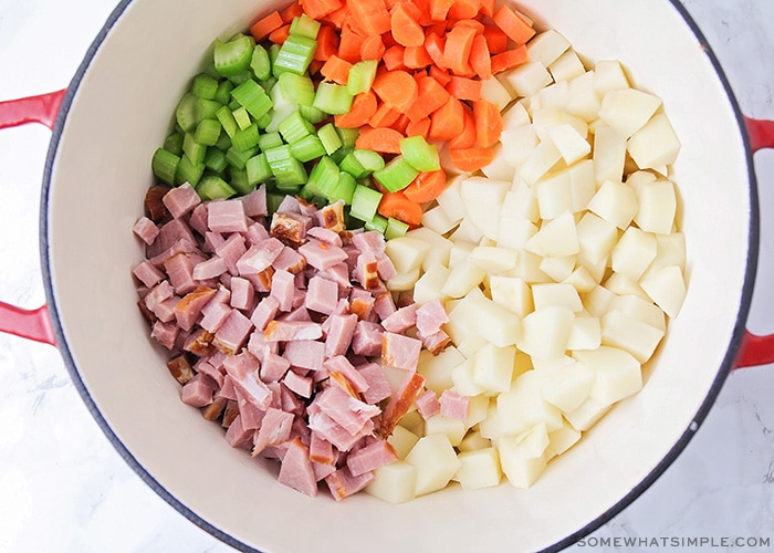 a bowl filled with chopped ham and vegetables