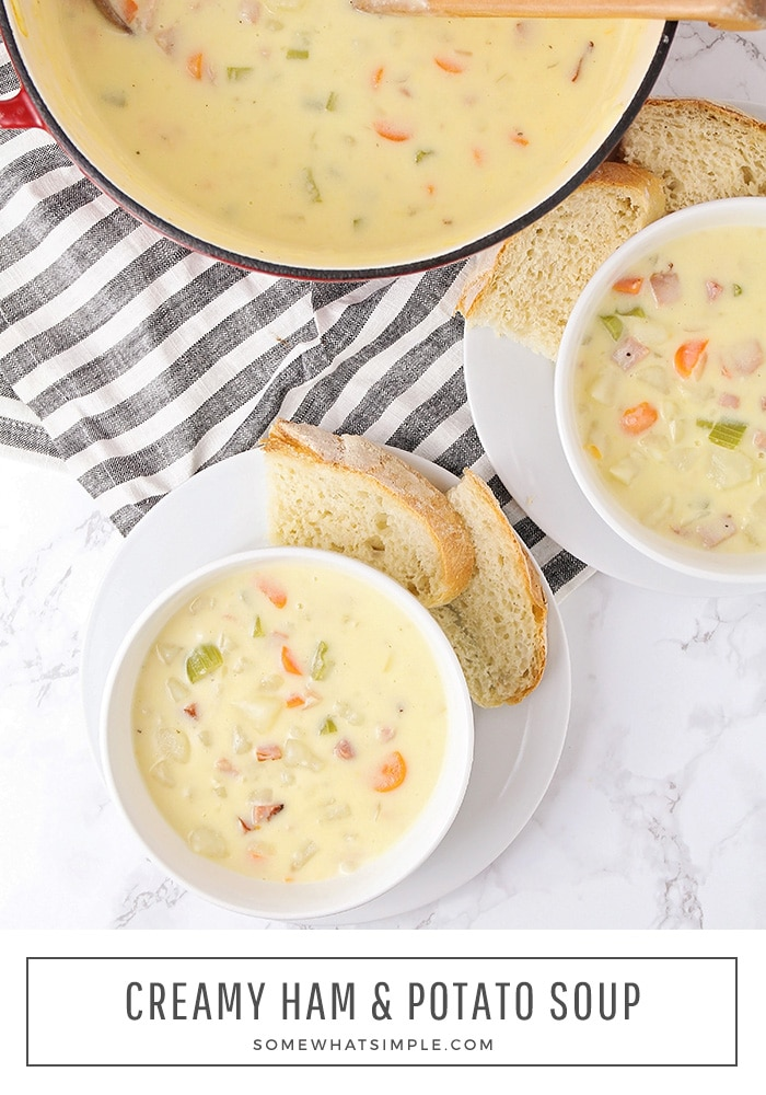 This creamy and flavorful ham and potato soup is the perfect dinner for a cold night. Filled with ham, fresh vegetables and cheese, you won't find a better recipe! #hampotatosoup #cheesyhamandpotatosoup #hampotatosouprecipe #easyhampotatosouprecipe via @somewhatsimple