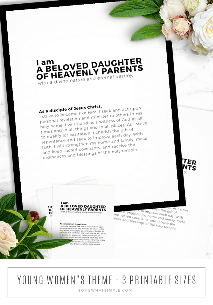 the new lds young womens theme printable in a black frame