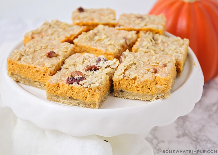 a tray of pumpkin pie bars
