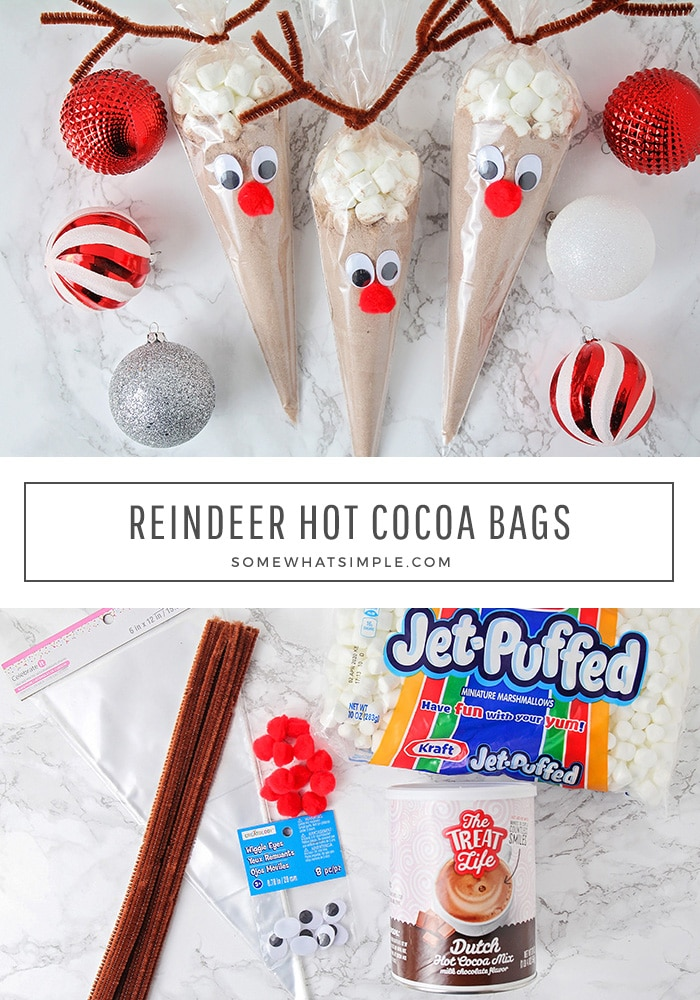 Reindeer hot chocolate bags are an easy and fun gift idea for this Holiday season.  Using just a few simple items, you can quickly make these adorable reindeer cocoa gifts for everyone on your list. #reindeerhotchocolatecones #reindeerhotchocolatebags #reindeerhotcocoacraft #diyreindeerhotchocolate #reindeerhotcocoabags via @somewhatsimple