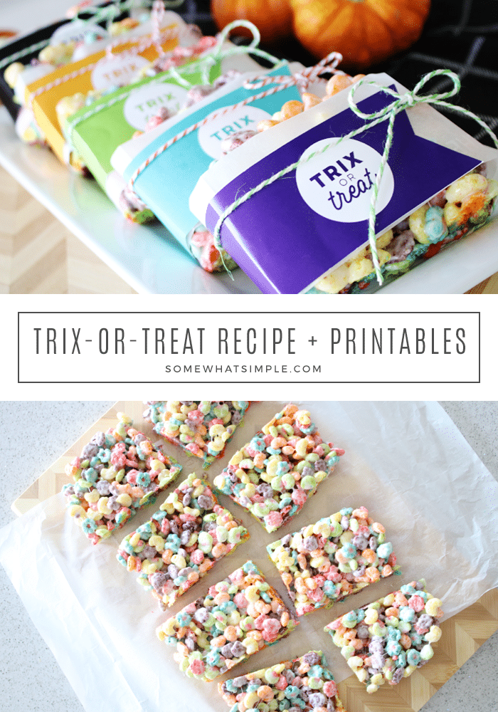 Halloween Trix or Treat Rice Krispies are simple and sweet, and our FREE printable gift tags add a festive Halloween touch! #trix #ricekrispies #halloween #treats #printables via @somewhatsimple