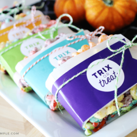 Trix oTrix rice krispies treats wrapped in gift tags that say trix or treatr Treat Rice Krispie Treats wrapped in colorful wrappers with a gift tag