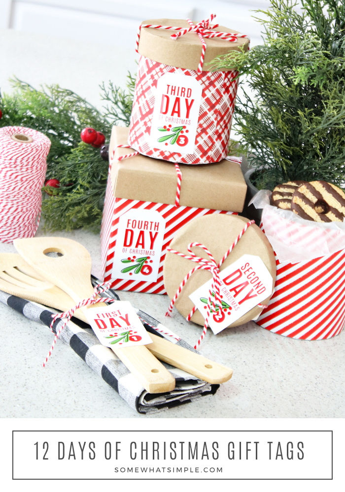 Countdown to Christmas by playing Secret Santa to your neighbors, co-workers and friends! Whether you're giving baked goods, small gifts, or a partridge in a pear tree, these 12 days of Christmas tags are a great way to tie everything together!  #christmasgiftidea #12daysofchristmas #freeprintable #12daysofchristmastags via @somewhatsimple