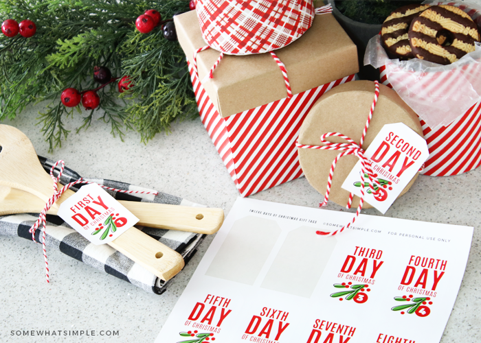 gift tags for each of the 12 days of christmas
