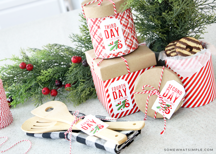 wrapped gifts with 12 days of Christmas tags