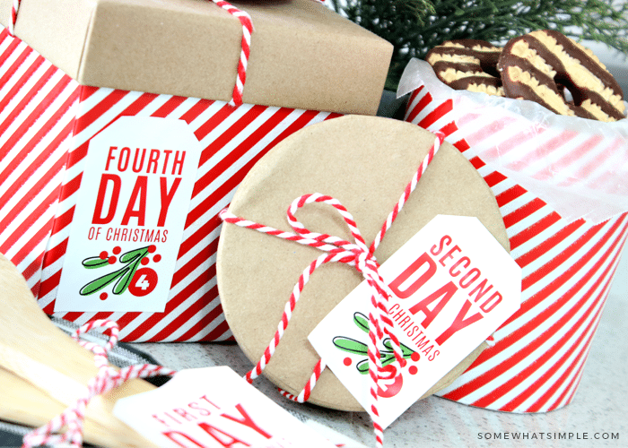 wrapped gifts with printable tags
