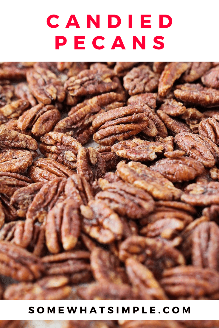 These delicious candied pecans have a sweet crunch and a touch of cinnamon. Covered in a brown sugar and cinnamon mixture, they're perfect for holiday gifts or party snacks! The recipe is super easy to make and perfect to enjoy throughout the holiday season. via @somewhatsimple