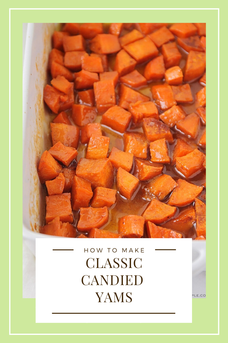 Candied yams are the perfect classic side dish for your holiday meal, or anytime throughout the year! Made with brown sugar and cinnamon, you won't be able to resist these delicious sweet potatoes! These are the perfect side dish for Thanksgiving dinner or any day of the week! via @somewhatsimple