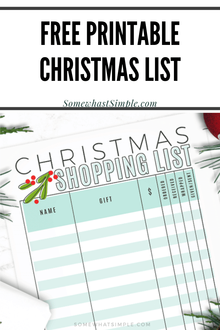 Get ready for the holidays with our free Christmas shopping list printable. Now you can easily keep track of which gifts you've purchased, which ones you need to wrap and which ones you still need to buy. Download your copy of this FREE printable today! via @somewhatsimple