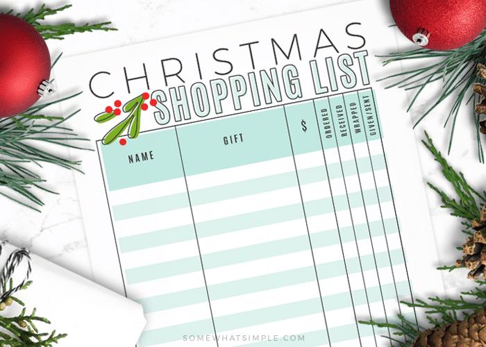 a printable Christmas shopping list template