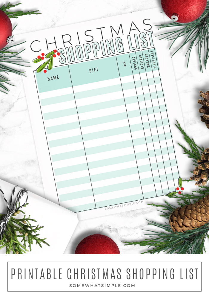 Get ready for the holidays with our free Christmas shopping list printable.  Now you can easily keep track of which gifts you've purchased, which ones you need to wrap and which ones you still need to buy. #christmas #printable #shoppinglist #gift #giftideas via @somewhatsimple