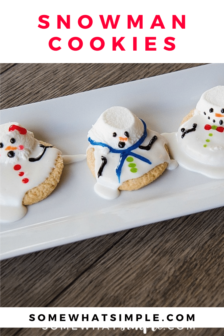 These melted snowman cookies are an easy winter treat your kids, coworkers, or party guests will LOVE! These are some of my favorite cookies to make during the Christmas season. Made with sugar cookies and decorated to look like snowmen melting in the sun, these cookies will be a hit all winter long. via @somewhatsimple