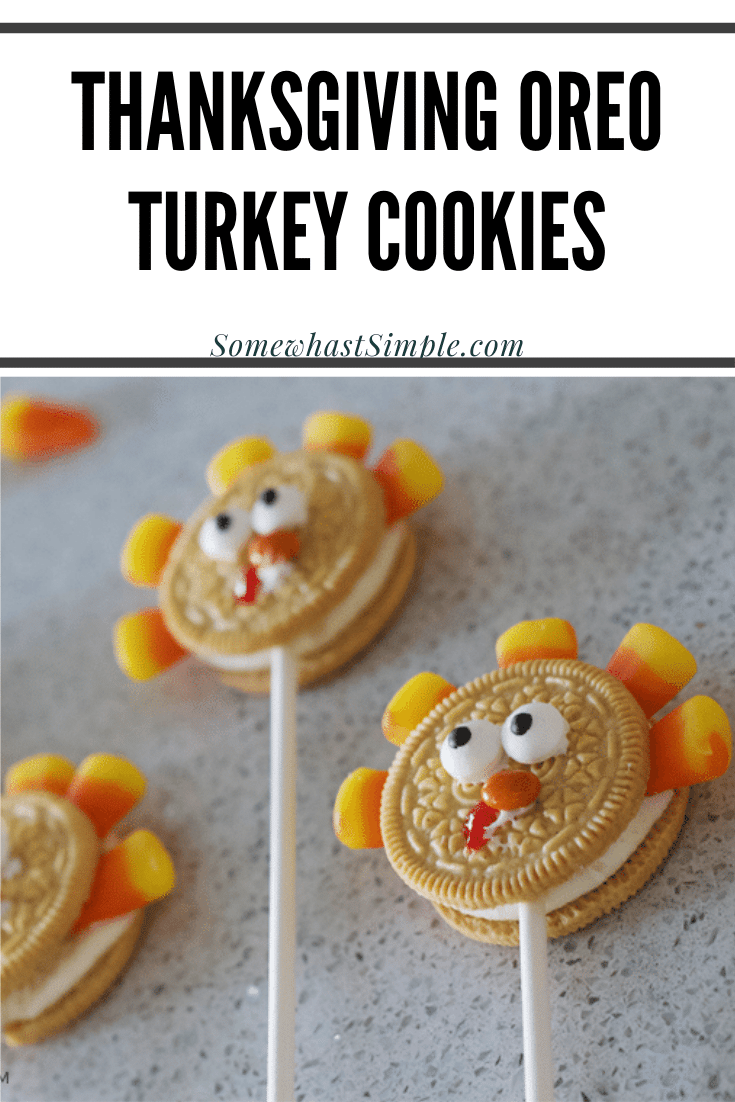 These Oreo cookie pops are the cutest Thanksgiving treat ever!  They're made using just a few easy ingredients they can be assembled in minutes.  Grab a golden Oreo cookie and some candy corns and let's get started. This fun cookie idea is perfect for everyone! via @somewhatsimple