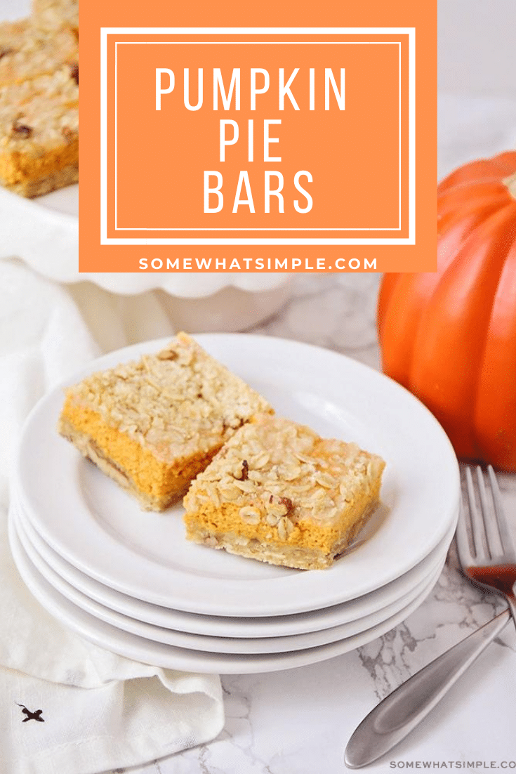 The perfect marriage of a pecan and pumpkin pie, these easy Pumpkin Pie Bars are a deliciously fun way to feed a crowd. They're quick and easy to make and are the perfect fall dessert. #pumpkinpiebars #pumpkinpiebarsrecipe #easypumpkinpiebars #howtomakepumpkinbars #pumpkinbarswithcreamcheese via @somewhatsimple