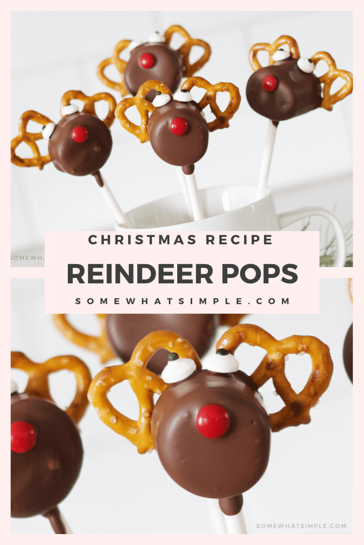 Are you ready for a fun and festive treat for the holiday season? These Reindeer Pretzel Marshmallow Pops are an easy treat your kids will love to create and then devour! They're really easy to assemble and make the perfect holiday treat during the Christmas season. They're made with pretzels, marshmallows and covered in chocolate. I promise, you won't be able to resist this salty sweet treat. via @somewhatsimple