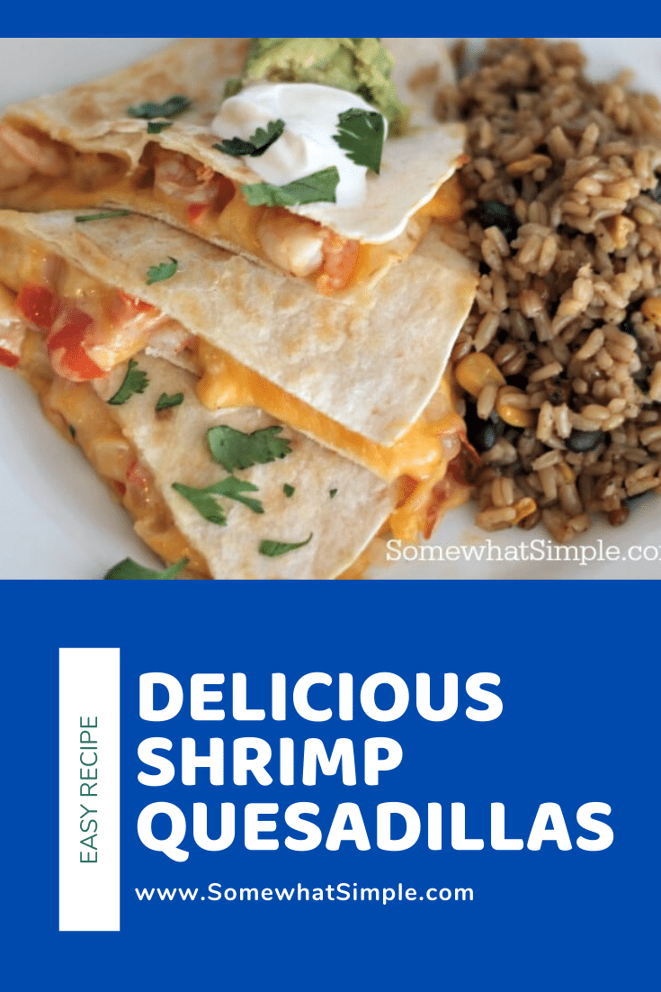 Quesadillas are a quick and easy dinner idea that are perfect for a busy night. This shrimp quesadilla recipe is a delicious twist on a Mexican classic. Filled with melted cheese and shrimp and topped with sour and guacamole, these quesadillas will make your taste buds smile. #easydinner #30minutemeal #mexicanfood #easyshrimpquesadillarecipe #shrimpquesadillas via @somewhatsimple