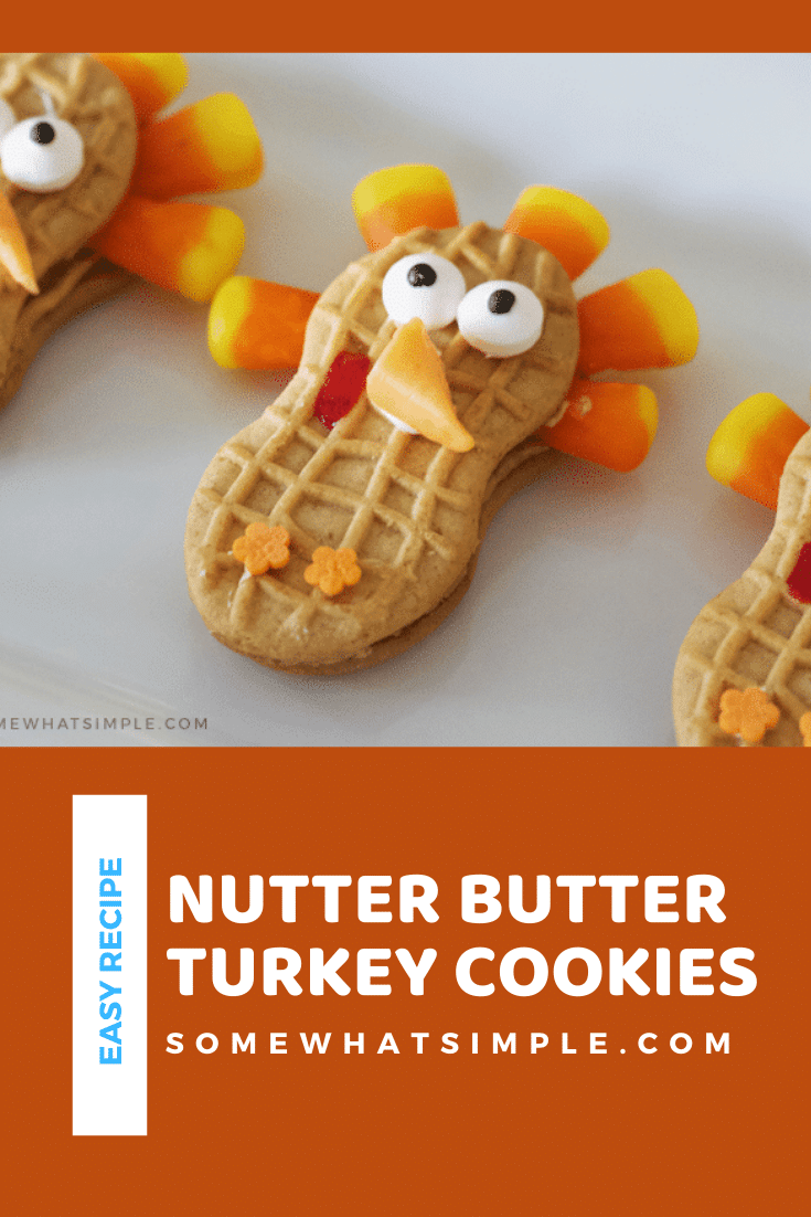 These cute Nutter Butter turkey cookies are the perfect Thanksgiving treats that your kids can help you make!  They're easy to make and taste delicious! Just grab your Nutter Butter cookies, candy corns and a couple other simple ingredients and start decorating! via @somewhatsimple