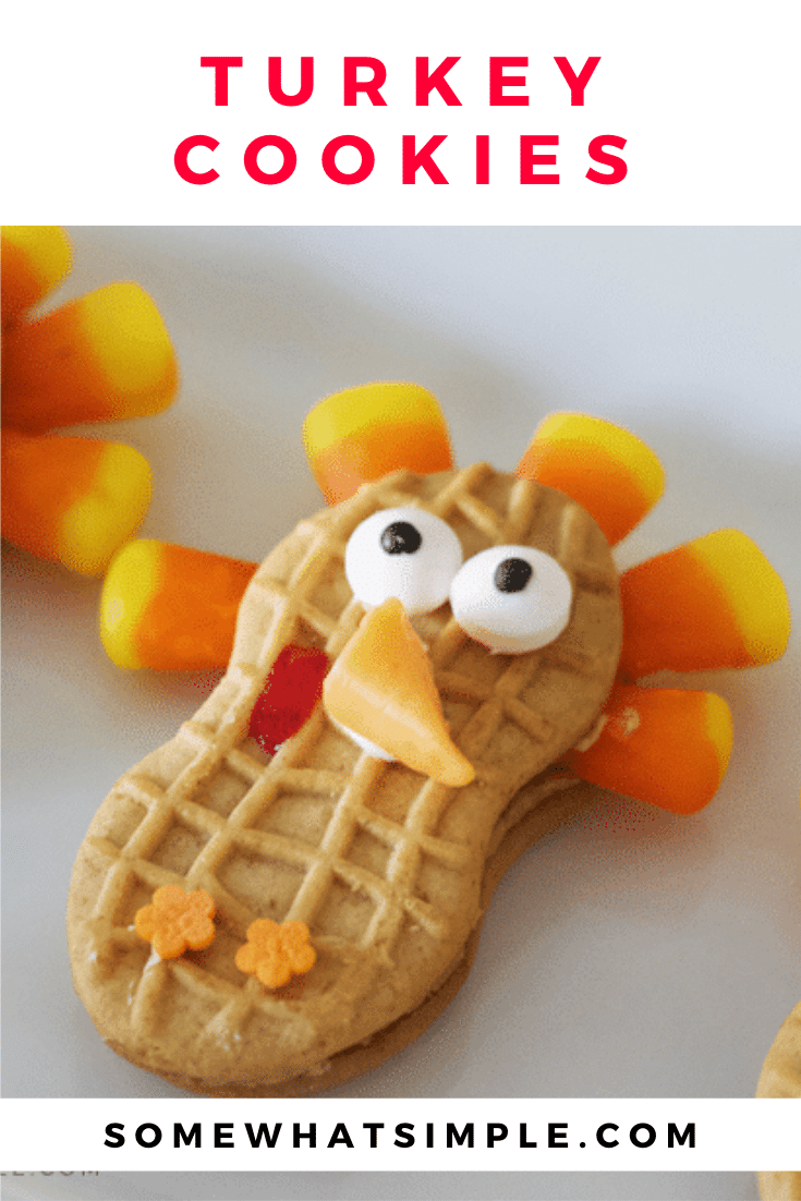 These cute Nutter Butter turkey cookies are the perfect Thanksgiving treats that your kids can help you make! They're easy to make and taste delicious!Just grab your Nutter Butter cookies, candy corns and a couple other simple ingredients and start decorating! via @somewhatsimple