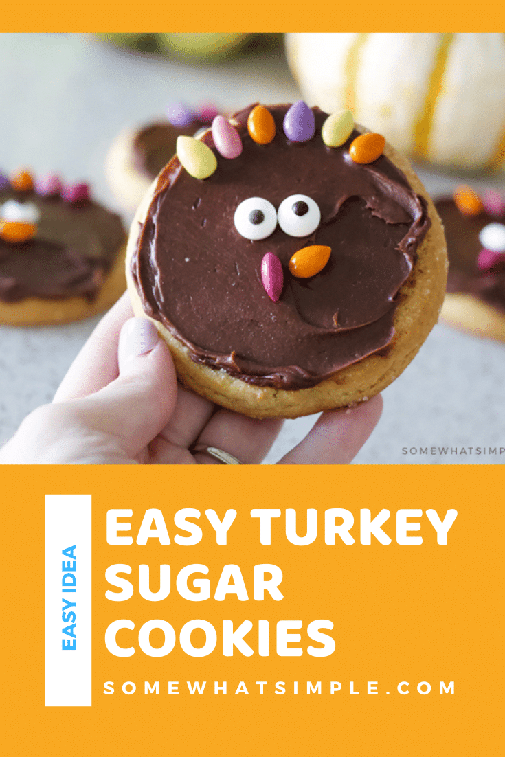 Turkey sugar cookies are a simple treat your little Thanksgiving guests are sure to enjoy! This easy cookie idea is a fun way to celebrate the holiday. You start with your favorite sugar cookie (store bought or made from scratch) and then decorate them to look like an adorable turkey. It's the most festive Thanksgiving cookie recipe you'll ever make! via @somewhatsimple